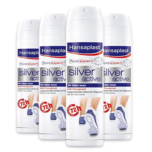 Hansaplast Silver Active Fußspray 150 ml 4er Pack, Fußspray Antitranspirant mit 48h Schutz vor Fußgeruch und Schweiß, Aktiv-Komplex mit Silber-Ionen