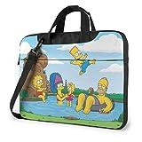15.6″Durable Hombro Mensajero Bolsa maletín PC Dibujos Animados de los Simpsons Moda Impermeable Ordenador Portátil/portátil/Tablets