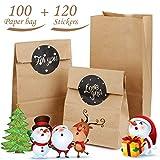 Sacs en Papier Kraft, AODOOR Sacs en papier marron, 100 pochettes cadeaux, 9 x 18 x 5.5 cm Papier Kraft Sacs avec 120 Sticker Utilisé dans Party, Anniversaire, Noël et Pques, de bonbons et noix
