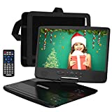 HDJUNTUNKOR Portable DVD Player with 10.1' HD Swivel Display Screen, 5 Hour Rechargeable Battery,...