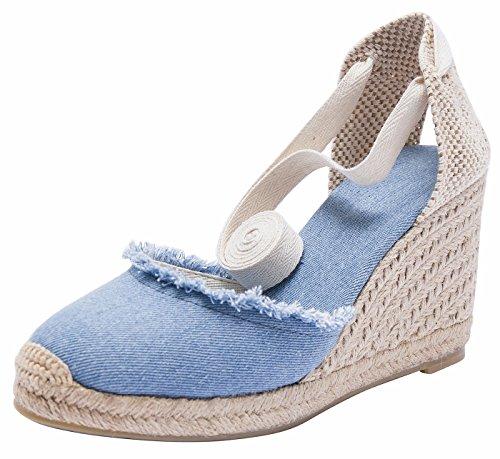 Alpargatas de cuña de Mezclilla clásicas para Mujer con Cordones Azules (A) 40