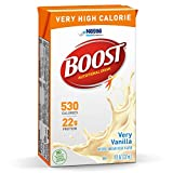 Boost Very High Calorie Complete Nutritional Drink, Very Vanilla, 8 Ounce Box, Pack of 27