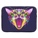 Colorida Cabeza de Gato Enojado El Gato gruñe Bolsas para computadora portátil Tableta de Netbook de 15 ″, maletín con Funda, Funda para Bolso