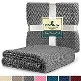 PAVILIA Luxury Soft Plush Dark Gray Throw Blanket for Sofa, Couch   Velvet Fleece Chevron Pattern Throw   Cozy Lightweight Microfiber, Reversible Blanket   All Season Use   50 x 60 Inches