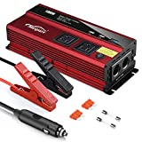 Maxpart 1000W Power Inverter Truck/RV Inverter 12V DC to 110V AC Converter with Dual AC Outlets 2.4A...