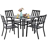 "MFSTUDIO 5 Piece Metal Patio Dining Sets Outdoor Club Bistro Bar Sets with 1.57"" Umbrella Hole, 4 Garden Backyard Metal Chairs and Larger Square Patio Table, Steel Slat Frame, Black"