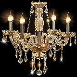 Cognac 4 Lights Modern Luxurious K9 Crystal Chandelier,Candle Pendant Lamp Ceiling Living Room Lighting for Dining Room Bedroom,Chandelier Made with Swarovski Crystal, (Cognac  Color)
