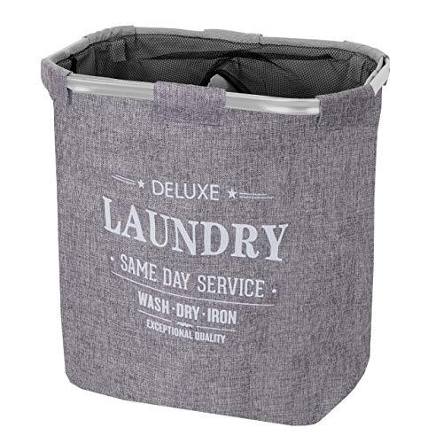 Mendler Wäschesammler HWC-C34, Laundry Wäschebox Wäschekorb Wäschebehälter mit Netz, 2 Fächer 56x49x30cm 82l ~ grau