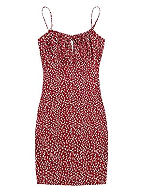 Fabric has slight stretch Ditsy floral, sleeveless, spaghetti strap, ruched bust, tie front, bodycon mini dress Occasion: suitable for casual wear, summer, evening party, dinner, dating, holiday, weekend Machine or hand wash in cold gentle/Line dry/D...