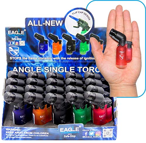 EAGLE TORCH 45 ANGLE SINGLE FLAME TORCH PT116A ASSORTED COLORS 3' PACK OF 20
