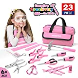 WORKPRO 23-piece Girls Tool Kit with Real Hand Tools, Safety Goggles, Storage Bag|Home DIY & Woodworking - Pink, Age 6+
