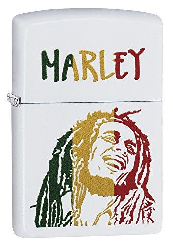 Zippo Bob Marley Colored Stripes Pocket Lighter, White Matte