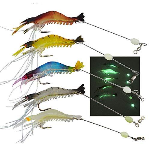 Senven artificiale del gambero l'esca, Esche da Pesca, Esche da Pesca Forma Gambero Bionico Luminoso per Pesca All'Aperto, molle di pesca dell'esca con il gancio di pesca del gancio - 5Pcs