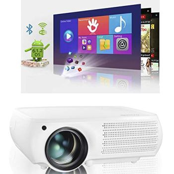 Real Native 1080p Android Projector, Gzunelic Real 8000 Lumens Smart WiFi Bluetooth Projector ± 50° 4D Keystone X / Y Zoom 10000:1 Contrast, Home Theater LED Video HD Proyector Wireless Mirror