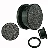 Jewelry Avalanche Sandpaper Top Texture Screw Fit Titanium Anodized Black Surgical Steel Ear Plugs - 8g=3mm