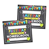 10 First and Last Day of Homeschool Chalkboard Signs, Reusable 1st Day of School Sign, Start of Back to School Photo Booth Prop for Kids, Girl or Boy in Kindergarten, Preschool Grade, 8x10' Card Stock
