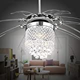42'' Modern Crystal Ceiling Fan Light for Living Room Restaurant with 8 Foldable Transparent Acrylic Leaves with Invisible Take-Off Remote Chandeliers