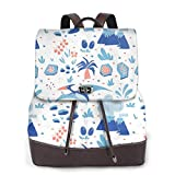 Yuanmeiju Womens Fashion Backpack Funny Dinosaurs Blue Shoulder Daypack Leather Casual Bag Girls