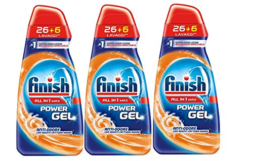 3x Finish All in 1 Power Gel Poteri-Antiodore - 650ml ciascuno