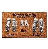 Nannuk Paillasson personnalisé en fibre de coco Famille 3 chaussures Gris