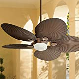 52' Casa Breeze Tropical Coastal Outdoor Ceiling Fan with Light LED Remote Control Oil Brushed Bronze Palm Leaf Damp Rated for Patio Exterior House Porch Gazebo Garage Barn - Casa Vieja