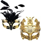 Black Feather & Gold Face Women Mask & Gold Roman Warrior Men Mask Masquerade Couple Masks For Venetian/Party/Ball Prom/Mardi Gras/Wedding/Wall Decoration(Elastic Band)