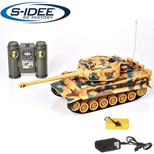 s-idee® 22003 Battle Panzer 99808 KingTiger 1:28 mit integriertem Infrarot Kampfsystem 2.4 Ghz RC R/C Ferngesteuerter Panzer Tank Kettenfahrzeug