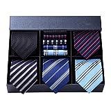 HISDERN Lot 5 PCS Classique elegant formel La soie des hommes Cravate Set...