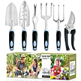 wanyi Garden Tool Set, 6-Piece Aluminum Lightweight Gardening kit with Soft Rubber Anti-Skid Ergonomic Handle, Garden Gift kit (Black/Blue)