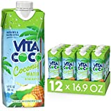 Vita Coco Coconut Water Naturally Hydrating Electrolyte Drink Smart Alternative to Coffee Soda and Sports Drinks Gluten Free, Pineapple, 16.9 Fl Oz (Pack of 12), 202.8 Fl Oz