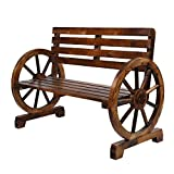 VINGLI Rustic Wooden Wheel Bench, 41' 2-Person Weagon Slatted Seat, Outdoor Patio Furniture, 550lbs High Capacity, Weather Resistance