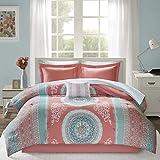 Intelligent Design Complete Bag Casual Boho Comforter with Sheet Decorative Pillow, All Season Bedding Set, Full, Loretta Coral