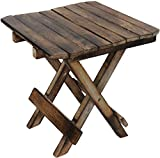 Indian Karigars Wooden Foldable Adjustable Side Table/End Table/Coffee Table/Plant Stand/Outdoor Table/Stool 12Inch. (Brown)