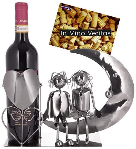 Brubaker Portabottiglie Vino Amanti della Luna - Coppia Scultura - Supporto per Bottiglie di Metallo - con Biglietto d'Auguri per Il Vino Regalo