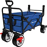 BEAU JARDIN Folding Wagon Cart with Brakes Free Standing Collapsible Utility Camping Grocery Canvas Fabric Sturdy Portable Rolling Buggies Outdoor Garden Sport HeavyDuty Shopping Cart Push Wagon Blue