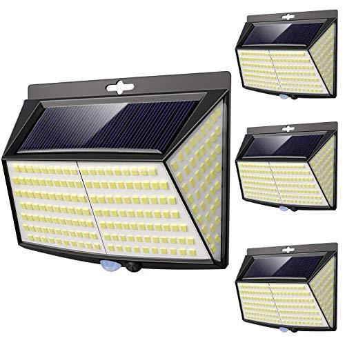 Luce Solare LED Esterno, [ 4 Pezzi 228 LED] Faretti Solari a Led da Esterno Lampada da Esterno con Sensore di Movimento IP65 Impermeabile 3 Modalit per Giardino, Parete Wireless Risparmio Energetico