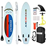 ANCHEER Inflatable Stand Up Paddle Board, Inflatable SUP Board for All-Round, iSUP Board with Non-Slip EVA Deck, Hand Pump, Paddle, Coiled-Leash on Ankle, Backpack, Waterproof Bag for Phone