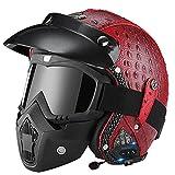 DJCALA Vintage Style Bluetooth Leather Helmet, 3/4 Open Face Adult Retro Motorcycle Half Helmet with 3 PCS Set DOT Certified Men Women Summer Scooter Light Moped Helmet ATV Street Helmet