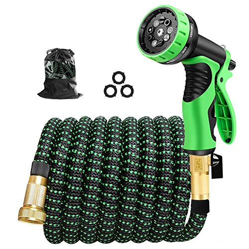 Cootway Expandable Garden Hose 25ft with 9 Function Spray Nozzle, Durable Leakproof Lightweight Flexible Water Hose with Triple Layer Latex Core, 3/4' Solid Brass Fittings,3750D Fabric No-kink Hoses