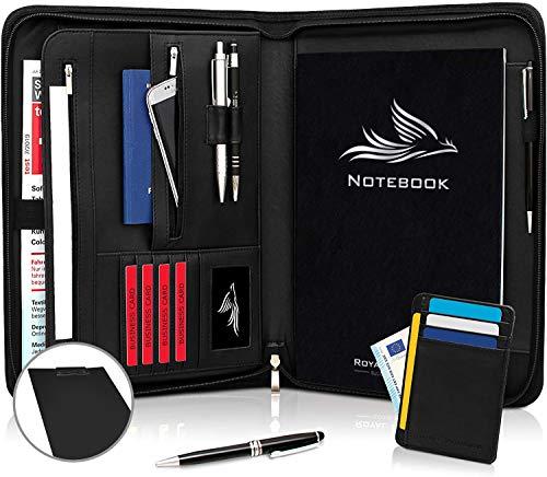 Royal Phoenix Business Schreibmappe A4 Leder mit Reißverschluss   inkl. Kugelschreiber + Schreibblock + BONUS   Business Organizer aus hochwertigem Veganem Leder in Schwarz