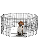 Dog Exercise Pen Pet Playpens for Dogs - Puppy Playpen Outdoor Back or Front Yard Fence Cage Fencing Doggie Rabbit Cats Playpens Outside Fences with Door - Metal Wire 8-Panel Foldable (30' Inches)