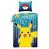 Halantex Parure de lit Pokemon Neon 100% Coton - Housse de Couette Réversible...