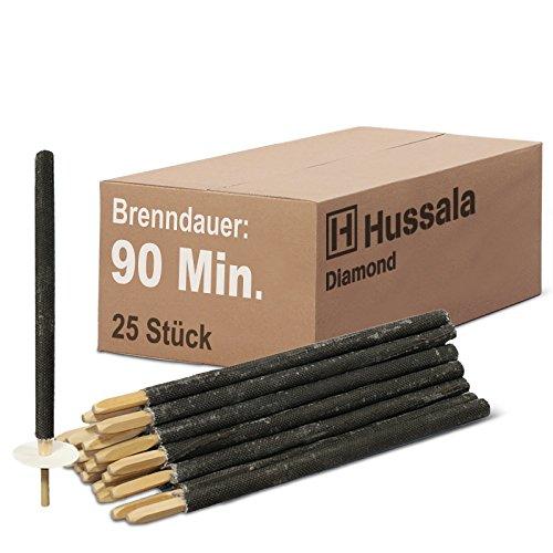 Hussala - Diamond Wachsfackeln Brennzeit 90 min Garten-Fackeln [25 Stück]
