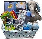 Bundle of Joy Deluxe Baby Girl or Boy Gift Basket (Medium) | 16 Piece New Baby Gift Set (Blue)