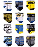 DC Comics Baby Boys Superhero Character Socks: Batman and Justice League 12 Pack (Newborn and Infants), Blue/Yellow/Black Batman, Size Age 6-12M
