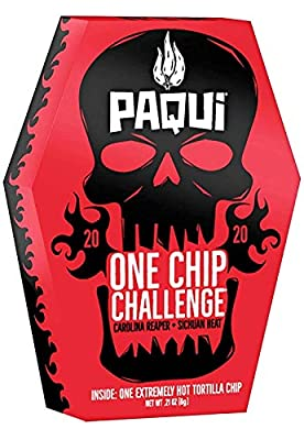 A single coffin containing one individually wrapped one chip Challenge chip. Try the world's hottest chip made with the hottest Chile pepper on the planet, The Carolina Reaper, with Sichuan heat. This item consists of a blue corn chip dipped in an in...