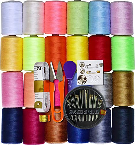 LE PAON 24 Assorted Color 100% Polyester All Purpose Sewing Thread 1000m Each Spool with 30pcs Sewing NeedlesSoft Measuring Tapes ScissorThimble Threader&Buttons for Hand and Machine Sewing