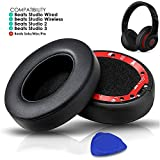 Professional Beats Studio Replacement Earpads Cushion by SoloWIT- Compatible with Beats Studio 2.0 & 3 Wired/Wireless with Soft Protein Leather/Noise Isolation Memory Foam/Strong Adhesive Tape