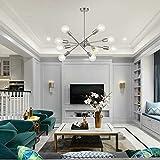 Modern Sputnik Chandelier Lighting 10 Lights with Adjustable Arms Mid Century Brushed Nickel Pendant Lighting for Foyer Living Room Kitchen by BONLICHT