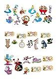 Lot de 31décorations Alice aux pays des merveilles en papier comestible - pour cupcakes et...